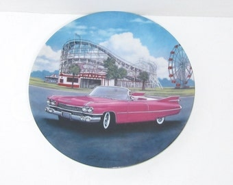 Collectible Plate 59 Pink Cadillac Cars of the Fifties Signed George Angelini Limited