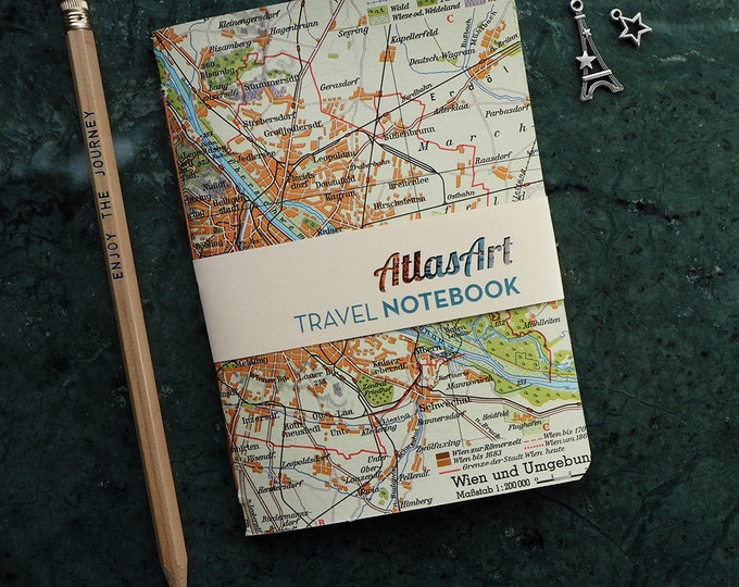 NOTEBOOK SMALL, Austria, Vienna, Mozart, Prater, 4x5,8inch, 32p., plain/ruled, travel journal, diary, atlas, map, vintage, upcycling