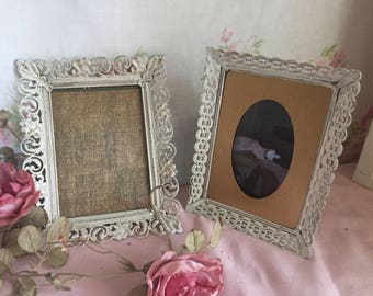 SET OF 2 Shabby Chic white painted frames - ORMOLU Filigree frames - Distressed  - Wedding prop - You get these - no substitutes