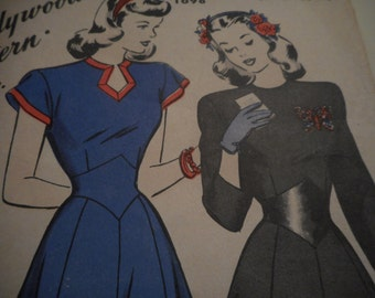 Vintage 1940's Hollywood 1698 Dress Sewing Pattern, Size 14 Bust 32