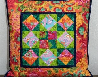 Boho-Floral Quilted Pillow Cover OOaK