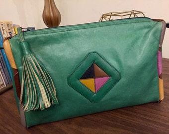 VINTAGE Unique Multicolor LEATHER PURSE Bag w/ Tassel & Geometric Design