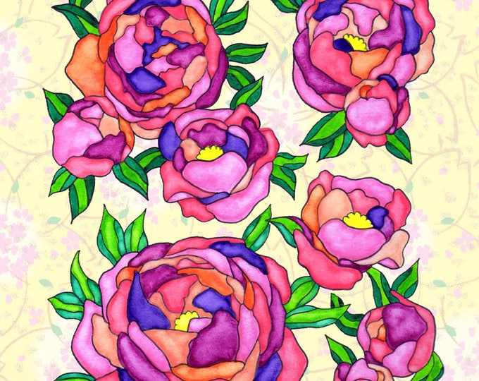 Painting / Art Print / Flower Nature Garden / Unique Artwork Gift /Mother Children  Nursery Baby Shower Girl's Room / Peonies