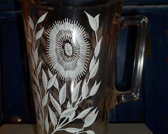 Vintage Mid Century Floral Glass Pitcher