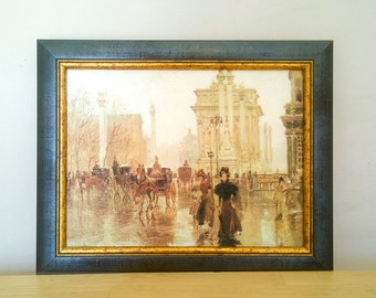 Vintage Painting Reproduction, Framed Wall Hanging, Old Masters, Art Gallery New Old stock, Rainy Street