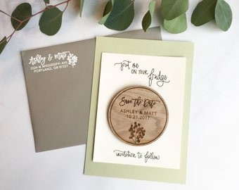 Wood Save the Date Magnets - Eucalyptus - save the date invitations wedding save the dates custom save the dates wood slice save the dates