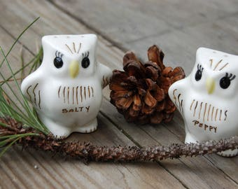Woodland Owl Salt and Pepper Shakers. Vintage Owl Salty and Peppy shakers. Woodland creatures