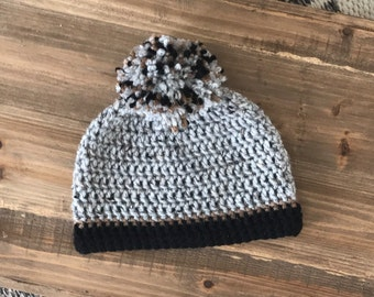 Baby Boy Crochet Pom-Pom Hat, Toddler Boy Winter Hat,  Gray, Brown, Black