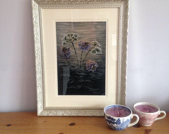 Wildflower and bees. Framed Original Acrylic Painting