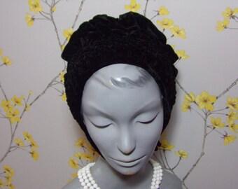 Vintage 1940s Black Velvet Victorian Style Mourning Bonnet Hat Small Hat Bow Vintage Velvet Bonnet Hat