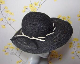 Vintage 1940s Black Finely Woven Hat With Monochrome Felt Trim 40s Ladies Summer Hat