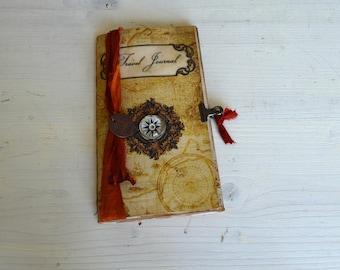 Vintage Travel Journal Midori size, travel scrapbook, travel album with pocket, travelogue, wanderlust, junk journal