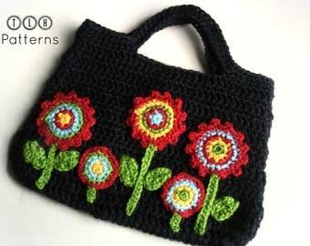 Crochet bag pattern, crochet purse, crochet bag with applique flowers, Pattern No. 13