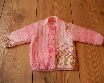 hand knitted baby girl cardigan / hand knit sweater pink mix newborn