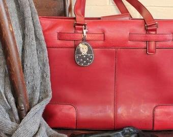 Matryoshka - Babushka Bag dangle, in handcut grey Eco Felt