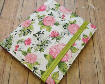 Planner Cover - in Painted Petals Metallic Bloom fabric - F2