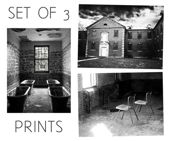 Abandoned Asylum - Manteno State Hospital - Set of 3 Photography Prints - Black and White Rural Decay Historic Illinois Architecture