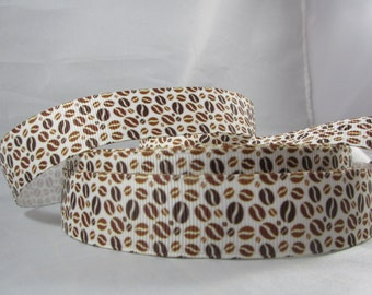 "Coffee Beans, Coffee lovers, Coffee and donuts, grosgrain ribbon, ribbon by the yard, 7/8"" ribbon, RN16108"