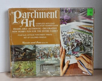 Colorforms Parchment Art - Currier and Ives Series 815 - 1969 - Color by Number - Collectibles - Sealed Box - 4 Prints - Colored Pencils