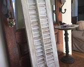 SALE until VALENTINES day Shabby Chic - Cottage Style Wood Shutter -  Hand-Painted - Cream / Gold Distressed - Shabby Cottage, Chippy Shabby
