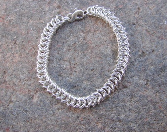 Flat Box Chain Chain Maille Sterling Silver Bracelet, Flat Queens Link Sterling Silver Chain Maille Bracelet