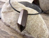 Wood Crystal Necklace With Crystal Shaped Bog Wood Pendant, Carved Bog Oak Crystal Amulet Charm, Ancient England