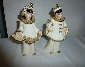 Vintage Porcelain Collector's Oriental Figurines Made in USA Gold Accents Dated 1953 by Kath