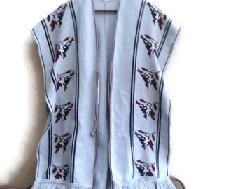 SALE Ethnic Poncho Cardigan Grey Printed Vintage S M L