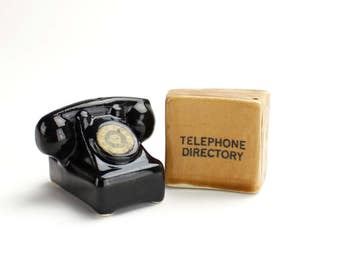 Vintage Telephone Salt and Pepper Shakers, Telephone and Directory, Phone and Phone Book Shakers,  Kitsch, Epsteam