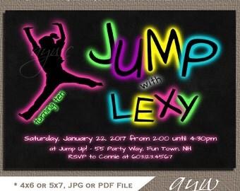 Jump Birthday Party Invitations Girl Trampoline Invitation Glow Jump Party Invitations Trampoline Invites Jump Invites Chalkboard Tween