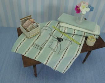 Gaël Miniature shabby chic  table Bolts of cloth plus SEWING ACCESSORIES -  Auxiliary haberdashery with complementary sewing french style
