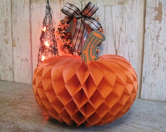 vintage paper pumpkin / halloween decoration / honeycomb pumpkin