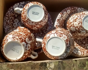 Brown Calico Crownford China 17 pieces