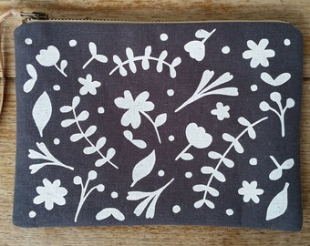 Floral white on charcoal hemp cotton - flat zip pouch - screen printed and handmade