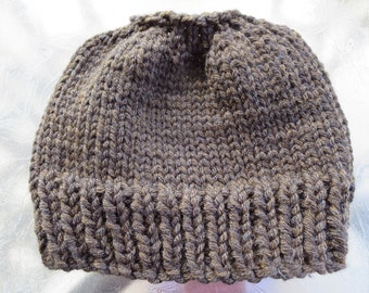 Hand knit woman's chocolate brown 100% thick acrylic pony tail or messy bun hat