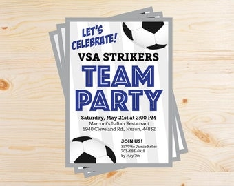 Editable Soccer Team Party Invitations - INSTANT DOWNLOAD PRINTABLE - Navy Dark Blue and Silver Gray Grey