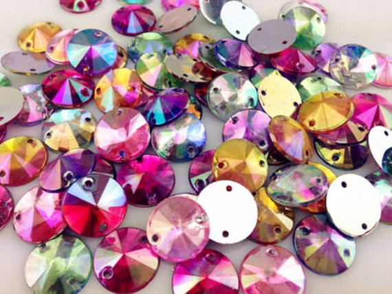 Mixed AB Round Flat Back Pointed Sew On Rivoli Resin Rhinestones Embellishment Gems C9