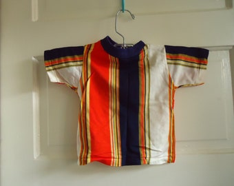 Vintage 60s/70s MOD Striped Kids T Shirt sz 1-2 years