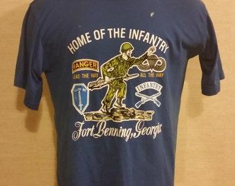 Men's Vintage FORT BENNING Georgia U.S Army Military Ranger Infantry T-shirt Sz-XL 46 Made In U.S.A