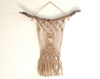 The Buffalo Will - FREE SHIPPING Jute Macrame, Handmade Ceramic Pendant, Driftwood Wall Hanging
