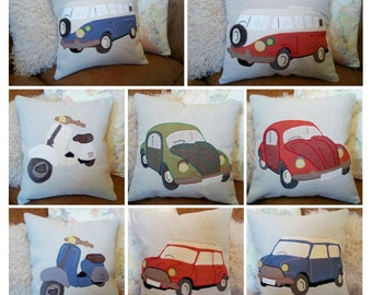 "Handmade Custom Personalised Vehicle Cushion Pillow Car Motorbike Truck 18""x18"" 45x45cm Bye Brytshi"