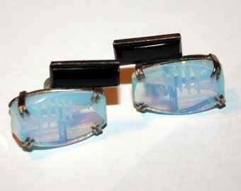 Vintage Moonstone Earrings Pagoda Intaglio Onyx 1960s Jewelry