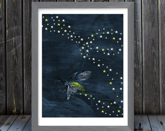 Firefly / Lightning Bug, Trail of Stars - Vertical Print - Frame Not Included