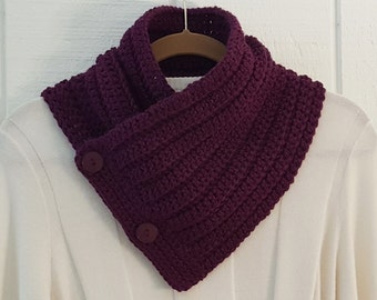 Crochet Button Scarf Grape Purple Beehive Button Cowl Neckwarmer Scarflette