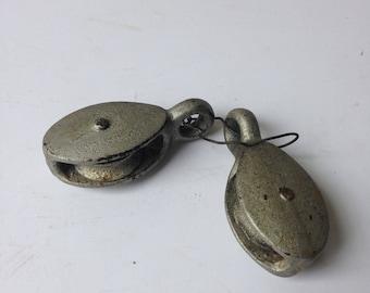 Vintage Metal Mini Pulleys. Set of 2 Industrial Pulleys