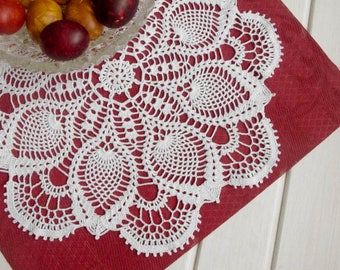 Large lace doily Pineapple crochet doilies Crochet centerpiece Pineapple lace doily Crochet decoration Lace decor 17 inches No. 350