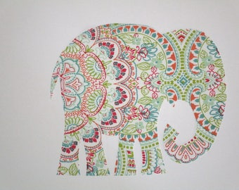 "Elephant Patch X Large 9"" Iron On Applique Patch"