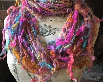 Handspun Yarn, Art Yarn, Lockspun, Tailspun, Bulky, Wool, Teeswater, Colorful, Single Ply, Popsicles and Lollipops