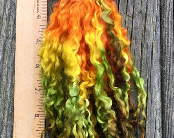 Teeswater Locks, Extra Long, Dyed, Tailspinning, 1 ounce, Doll Hair, Spin, Felt, Fleece, Tiger Lily