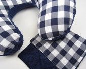 Boppy Cover, Nursing Pillow - Buffalo Check in Navy and White
